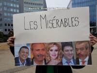 Un grup de romani a protestat la Bruxelles in timpul vizitei premierului Grindeanu: