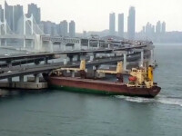 Momentul în care un căpitan rus beat intră cu o navă cargo într-un pod. VIDEO
