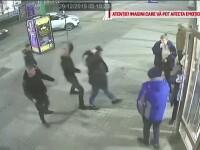 Momentul în care angajații unei firme de pază din Arad au bătut violent un tânăr