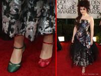 Cu un pantof rosu si unul verde. Helena Bonham Carter, pe covorul rosu