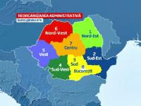 Cum ar arata harta Romaniei dupa reforma administrativa. Opt regiuni cu bugete proprii si presedinti