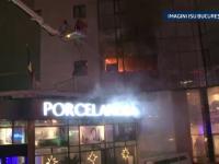 Desfasurare de forte in Bucuresti: etajul unei cladiri de birouri a ars complet. VIDEO