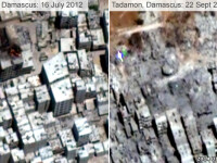 Siria a aruncat in aer cartiere intregi in mod deliberat pentru a-i pedepsi pe simpatizantii rebelilor. FOTO SATELIT