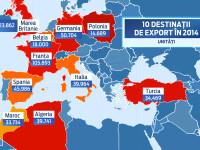 Harta exporturilor de masini produse in Romania in 2014. Unde au ajuns Daciile de la Mioveni si Ford Bmax-urile craiovene