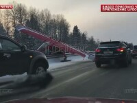 Aterizare spectaculoasa pe o autostrada de la marginea Moscovei. Un avion a ajuns pe o sosea aglomerata