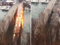Momentul in care un pod vechi de 108 ani este demolat pentru a face loc unuia nou. Ce a filmat un martor la eveniment