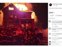 Mai mulți pompieri s-au fotografiat în fața unei case în flăcări. Ce a urmat