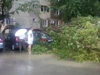O furtuna crunta a maturat Oradea. Strazi inundate, copaci peste masini