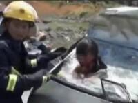 Accident socant in China. O femeie a supravietuit dupa ce a fost proiectata cu capul prin parbriz