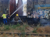 Incendiu in Portul Constanta. 12 vagoane incarcate cu celuloza au fost afectate