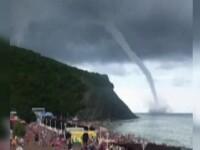 Tornada uriasa, la Marea Neagra. Turistii au fugit din statiunea amenintata