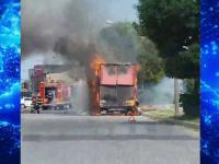 Un TIR venit din Serbia a luat foc la Târgoviște, aproape de 2 benzinării. Neașteptat cum a pornit incendiul