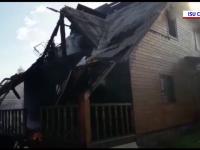 O cabană din Mărișel, județul Cluj, cuprinsă de flăcări. Nu există victime