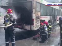 Un autobuz aflat în trafic în Brașov a fost cuprins de flăcări. Ce a urmat