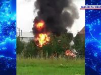 Incendiu la un service auto din Săcele. Mai multe cauciucuri au luat foc