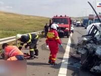 Accident violent pe A10. Un bărbat a murit în urma ciocnirii dintre un camion și un autoturism