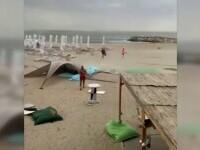 O vijelie a alungat turiștii de pe plajă. S-au înregistrat rafale care au depășit și 80 de km pe oră