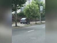 Un șofer din Capitală, surprins în timp ce se plimba cu mașina pe trotuar. Ce pedeapsă riscă
