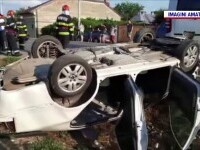 Accident violent pe DN72. O mașină s-a răsturnat și a rămas cu roțile în sus