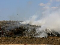 Tone de gunoi ard mocnit la Glina! Aer irespirabil, oameni disperati