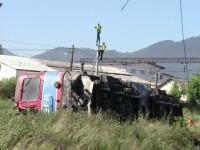 Incident unic intre Predeal si Brasov. O locomotiva a pornit de pe loc fara mecanic si s-a rasturnat