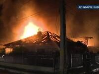 Noapte de foc in Buzau. Sase autospeciale ale pompierilor s-au chinuit sa stinga incendiul care a facut scrum 2 case