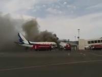 Momente de panica pe Aeroportul din Kazahstan. Un avion a luat foc sub ochii pasagerilor care urmau sa se imbarce. VIDEO