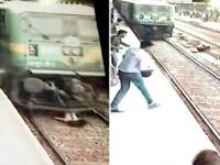 Momentul in care o tanara este lovita in plin de un tren. Fata traversa calea ferata cu casti in urechi. VIDEO
