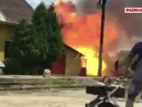 Mai multe butelii au explodat, dupa ce un incendiu a izbucnit in Bihor. Proprietarul gospodariei a suferit rani grave