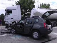 Un bărbat de 67 de ani, rănit grav într-un accident în lanț, pe un bulevard din Târgoviște