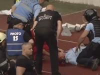 Jandarm căzut la pământ, plin de sânge, în timpul meciului de la Cluj