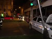 O mașină de poliție militară, împlicată într-un accident cu un tramvai, în Timișoara