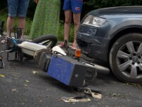 Motociclist grav rănit în urma impactului cu o maşină, în Constanța. FOTO