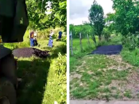VIDEO. Muncitori filmați când asfaltează iarba, la Mihăești. Reacția primarului