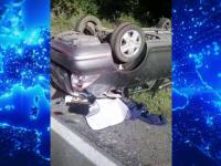 Accident grav la ieșirea din Târgoviște. Cum s-a răsturnat o femeie cu mașina