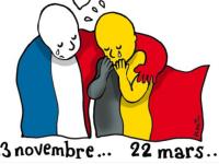 Reactiile oamenilor, in desene, ca raspuns la atentatele din Bruxelles. Omagiul adus victimelor, in centrul orasului