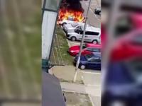 Explozie urmata de incendiu intr-o parcare din Botosani. O masina a fost complet distrusa de flacari
