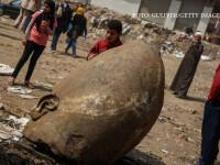 O statuie uriasa a unui faraon, gasita in noroi intr-o mahala din Cairo. Ce au aflat cercetatorii despre ea