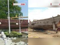 Ambarcatiunea recreata dupa corabia lui Stefan cel Mare a devenit o epava. Cum a ajuns sa fie avariata de o masina de gunoi