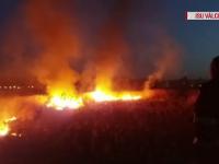 Incendiu de vegetație, pe o suprafață de 5.000 de metri pătrați, într-un cartier din Râmnicu Vâlcea