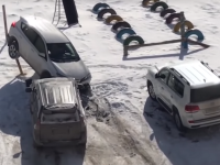 Un şofer rus beat a făcut dezastru în parcare. Ce explicaţie a oferit. VIDEO