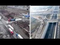 Centura Bucureștiului vs Centura Sofiei. Ei au 5 benzi și giratorii suspendate, noi facem slalom printre gropi