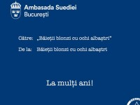 "Ambasada Suediei, mesaj inedit de ziua SRI. Aluzia la ""băieții cu ochii albaștri"""