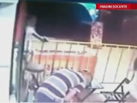 CAMERA DE SUPRAVEGHERE. Momentul in care un tanar din Brazilia este impuscat, pe terasa unei patiserii