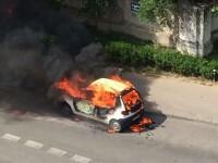 Un autoturism a luat foc pe Soseaua Fundeni din Capitala. Imagini de la interventia pompierilor