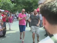 Reactia barbatilor care s-au intrecut la alergat pe tocuri la evenimentul caritabil de la