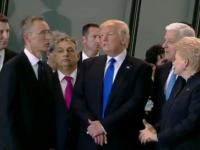 Momentul in care Trump l-a impins pe premierul Muntenegrului pentru a ajunge in fata la summitul NATO. VIDEO