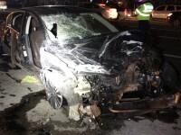 Incendiu la un restaurant în Afumați. O mașină a intrat într-o țeavă de gaze