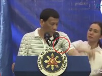 Momentul în care un gândac uriaș se plimbă pe Rodrigo Duterte. Reacția acestuia. VIDEO