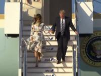 Momentul în care rochia Melaniei Trump este luată de vânt la sosirea în Japonia. VIDEO